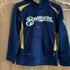 Boys Nike Therma-Fit hoodie Milwaukee Brewers sz L